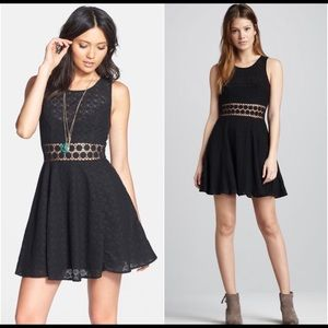 Free People Black Daisy Lace Fit and Flare Dress 8